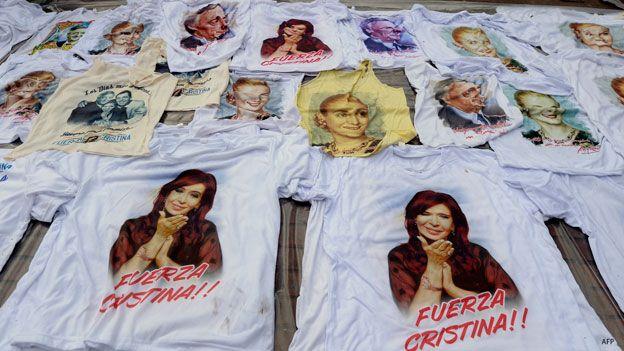 Camisetas sobre Cristina Fernandez, presidenta de Argentina