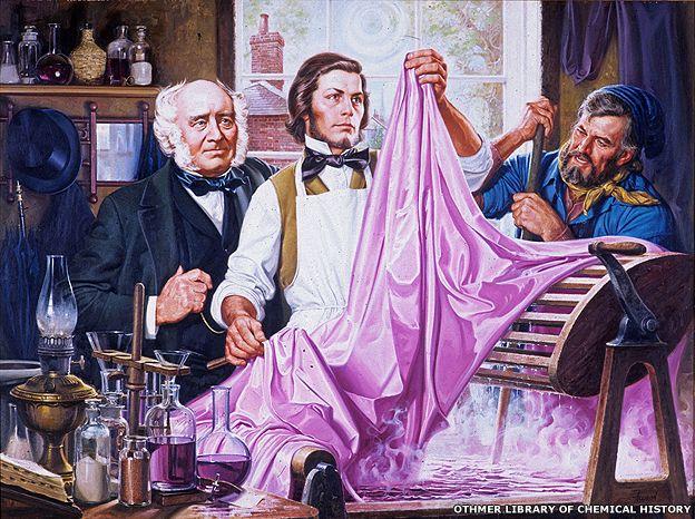 Pintura sobre el descubrimiento de William Perkin.