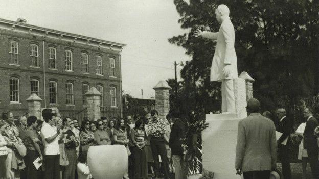 Parque José Martí en Ybor City, Tampa (Florida), 1985.