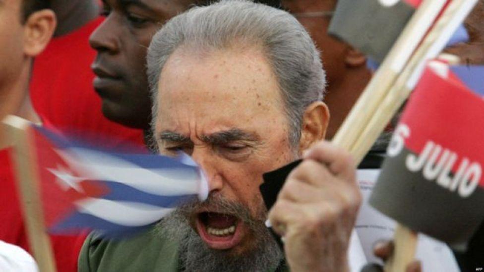Fidel Castro participa en el acto del 53 aniversario del asalto al cuartel Moncada. Foto: AFP Getty Images