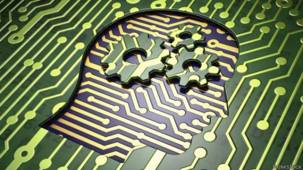 Dibujo de un cerebro incrustado en los circuitos de una computadora