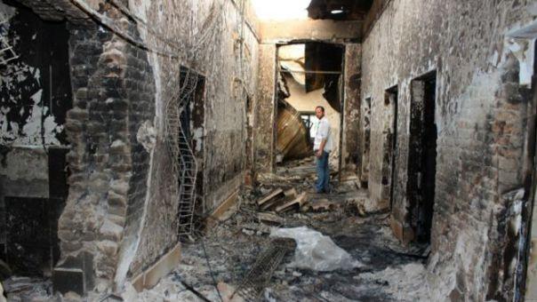 Imagen del hospital de Médicos sin Fronteras tras el bombardeo.