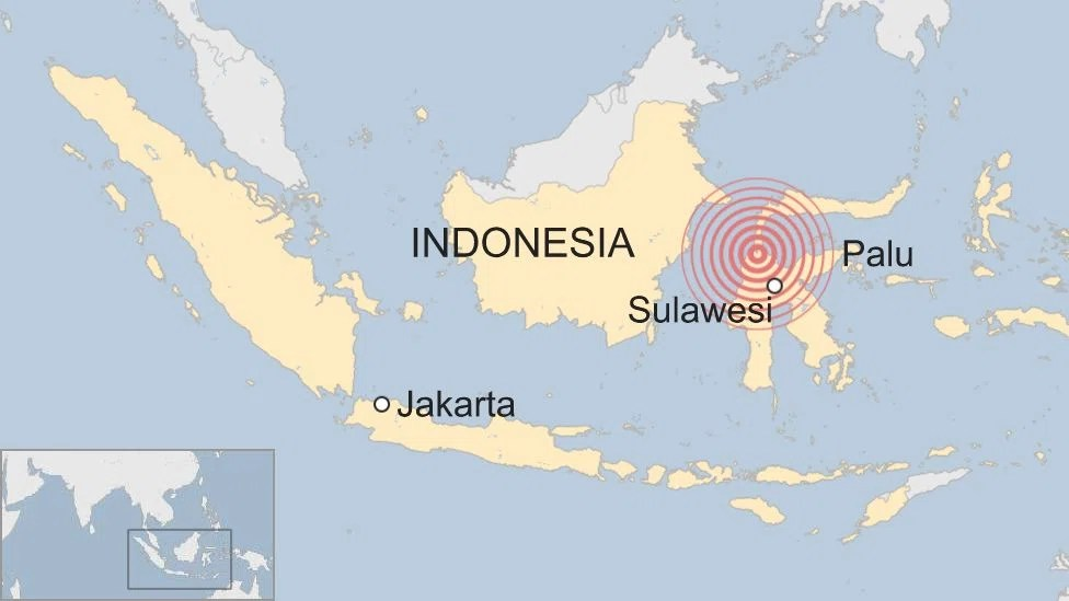 Map of the area hit by the earthquake and tsunami