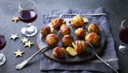 Hasselback potatoes with bacon