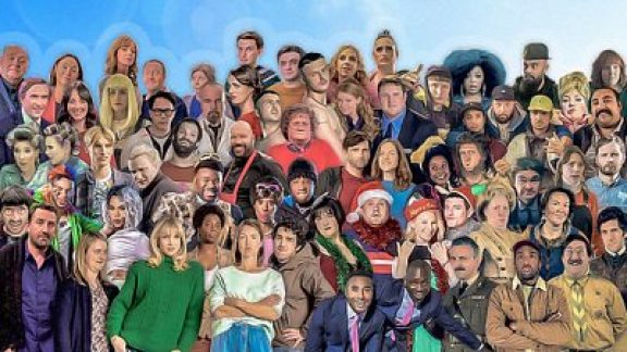 Montage of comedians and comic actors from BBC TV programmes