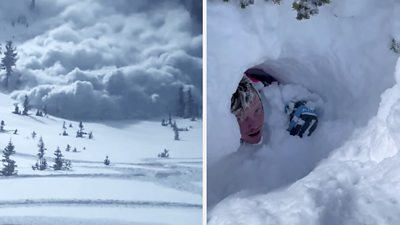 Amazing escape as Utah avalanche buries snowmobilers #world #BBC_News