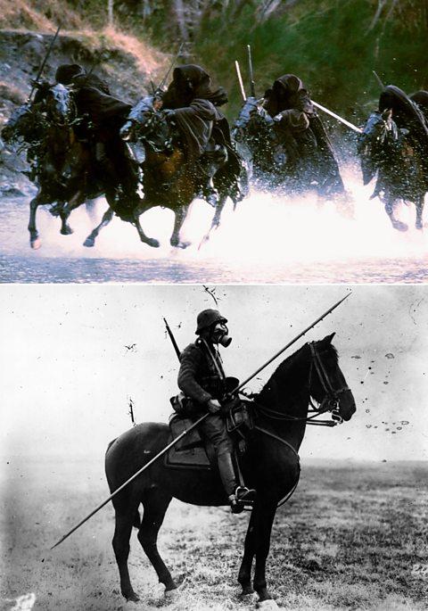 Espectros do Anel do Senhor dos Anéis (em cima) e soldado da cavalaria alemã na Primeira Guerra Mundial