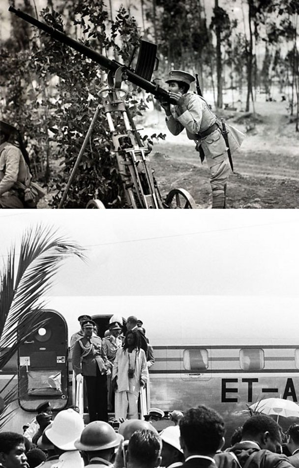 An Abyssinian soldier aims a gun, in the image below Emperor Selassie arrives in Jamaica.