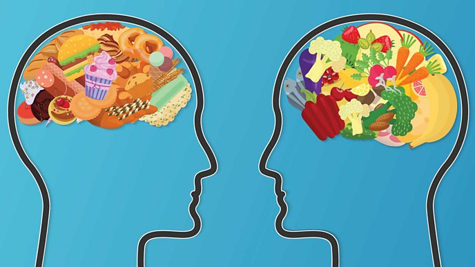 A graphic of two heads one with junk food in the shape of a brain in the head and the other head with healthy food in the shape of a brain in a head