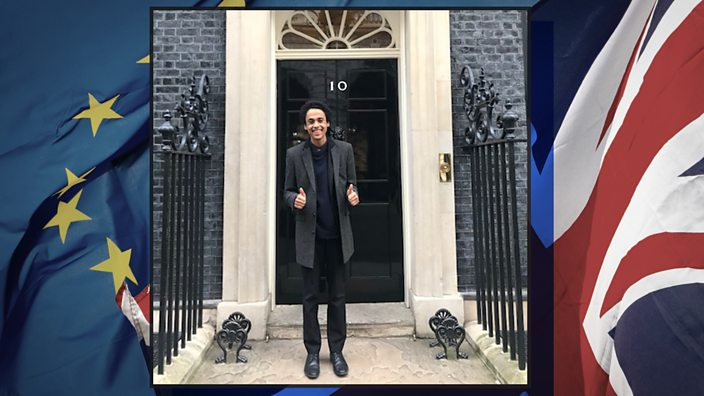 """Hani outside number 10: """"When the result came in, my father and I had just come back from our count in Peterborough. We turned on the TV, heard the news and shared a big hug. The sense of victory in that moment was huge."""""""