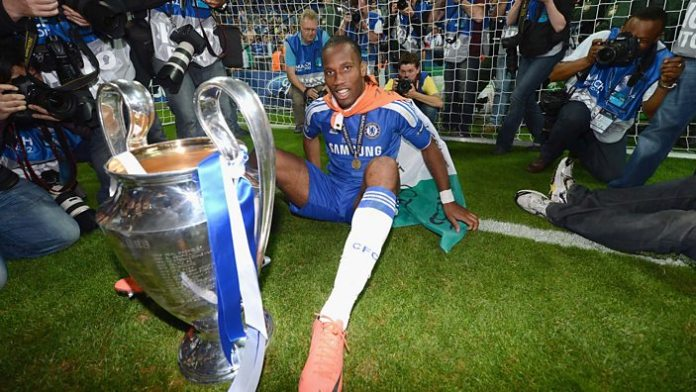 Didier Drogba with the Uefa Champions League trophy in 2012