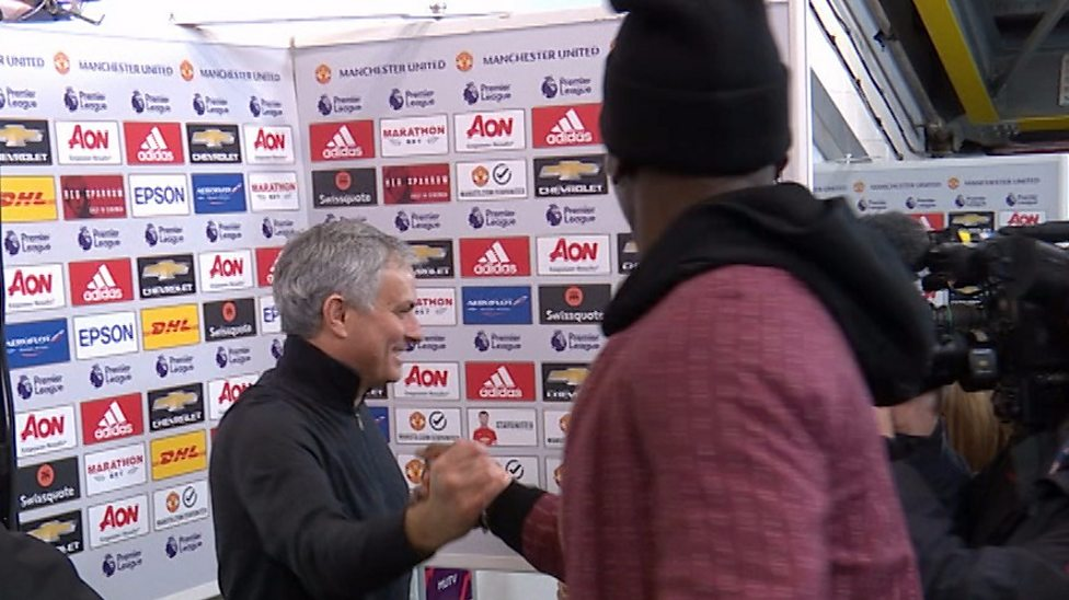 Image result for What Pogba did to Mourinho during interview after Liverpool game