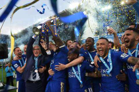 Leicester City celebrate Premier League win