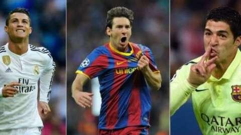 Cristiano Ronaldo, Lionel Messi and Luis Suarez