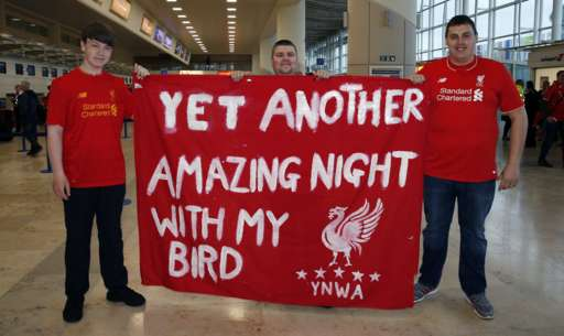 Liverpool fans at Liverpool Airport