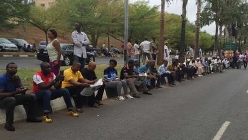 Abuja voters queuing to be accredited