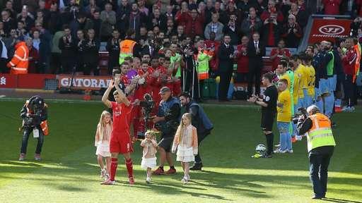 A guard of honour for Liverpool captain Steven Gerrard