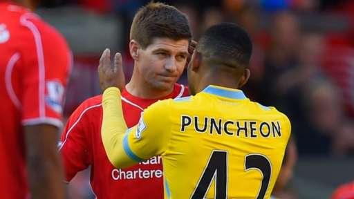 Jason Puncheon goes to hug Steven Gerrard