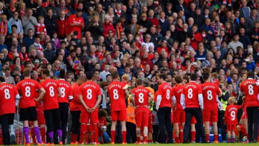 Fans and players tribute to Steven Gerrard