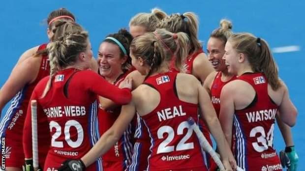 GB women's hockey celebrate