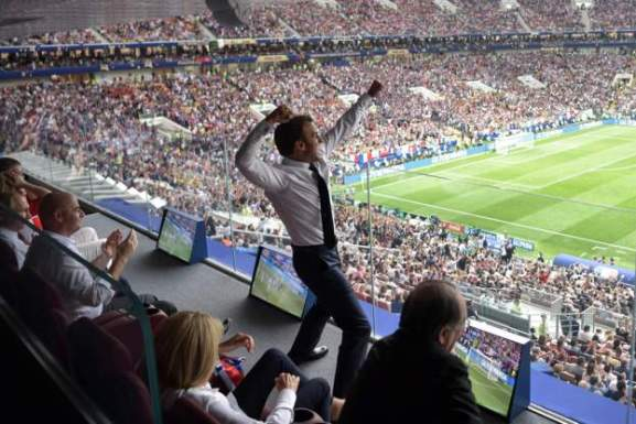 France's President Emmanuel Macron celebrates during the World Cup final