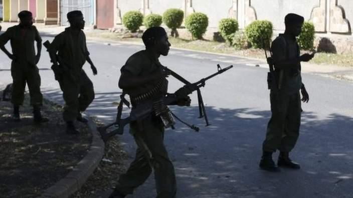 Soldiers loyal to President Pierre Nkurunziza in Bujumbura - 14 May 2015