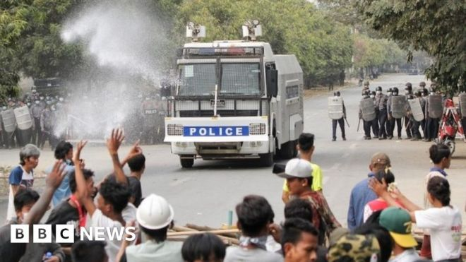 Myanmar coup: At least two killed as police disperse protesters #world #BBC_News