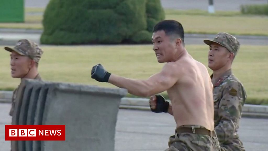 , N Korean soldiers smash bricks and bend iron rods, The Evepost BBC News
