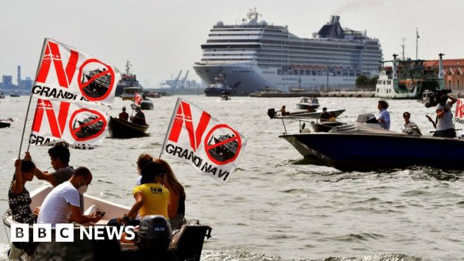 Venice residents in environmental protest against first post-Covid cruise ship. #world #BBC_News