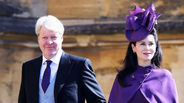 Earl Spencer and his wife, Karen, at the wedding of Prince Harry and Meghan Markle, May 2018