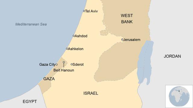 Mapa que muestra Israel y la Franja de Gaza
