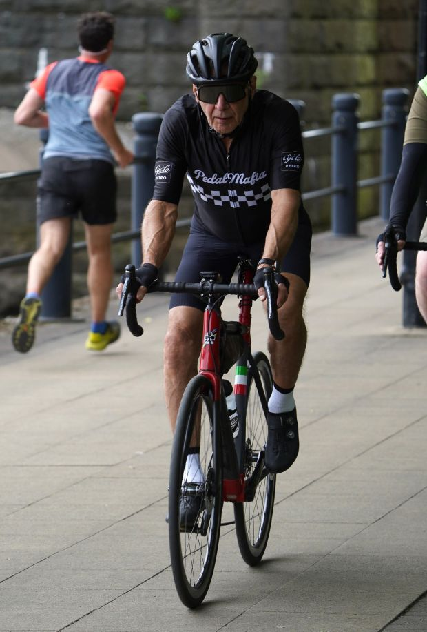 Harrison Ford cycling on Newcastle's Quayside