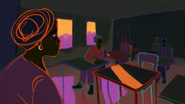 Illustration on Thembi going into classroom and seeing an empty desk