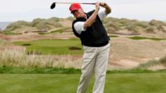 Donald Trump at the Trump International Golf Links near Aberdeen