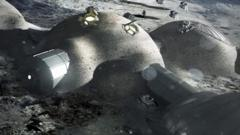 A computer generated image of a base on the Moon