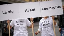 Protesta contra Novartis en Francia.