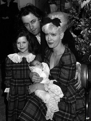 Bob Geldof and Paula Yates with children Fifi Trixiebelle, five, and new baby Peaches