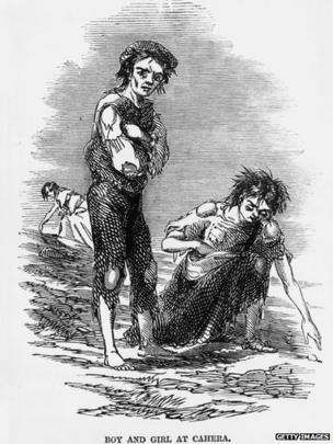 1846: A starving boy and girl rake the ground for potatoes at Cahera during the Irish potato famine