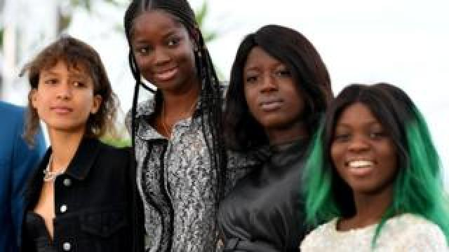 (L-R) Atlantics director Mati Diop and actors Mame Sane, Nicole Sougou and Mariama Gassama.