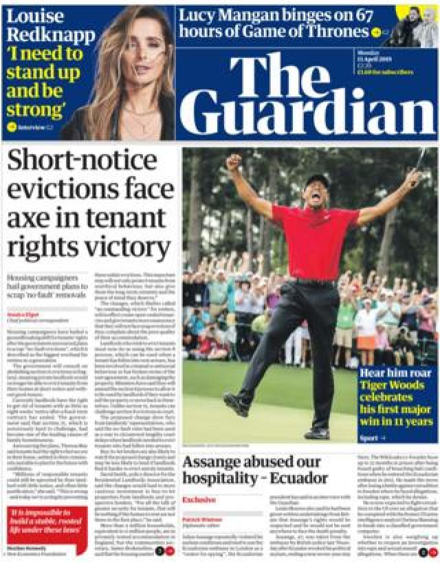 Guardian front page, 15/4/19