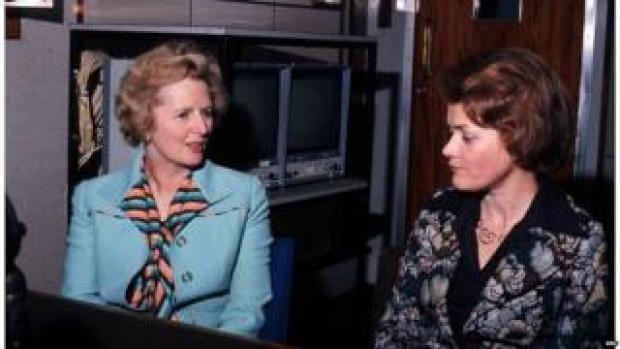 Margaret Thatcher speaking to the BBC's Sue McGregor in 1976