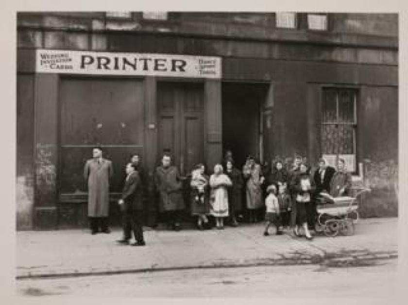 Funeral party awaiting the hearse, Gorbals, 1963