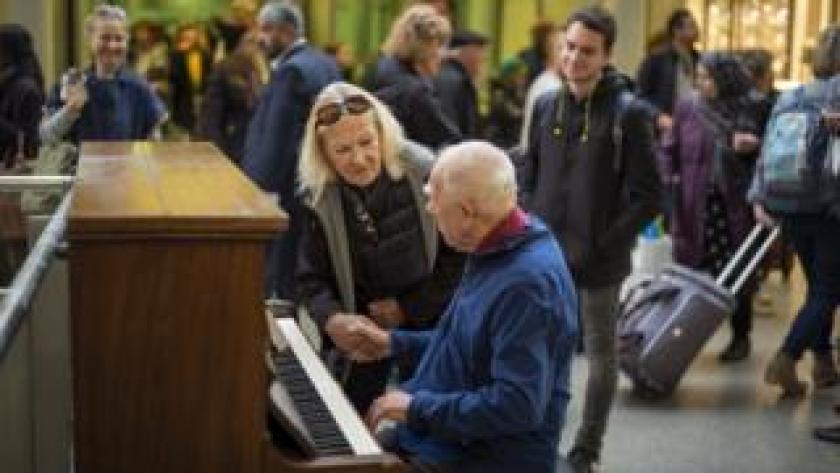 Denis Robinson plays at St Pancras station