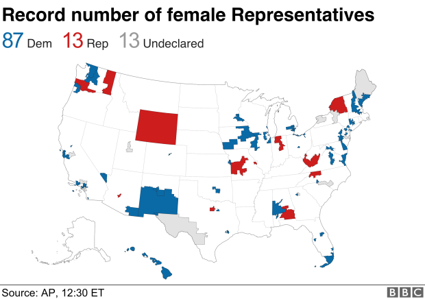 Map showing how record number of women have been elected to the US House, with 87 for the Democrats and 13 for Republicans