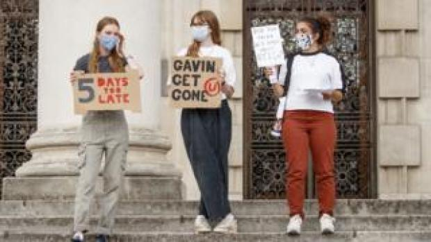 Students take part in a protest in Millennium Square, Leeds, after the government's U-turn on the calculated grades system