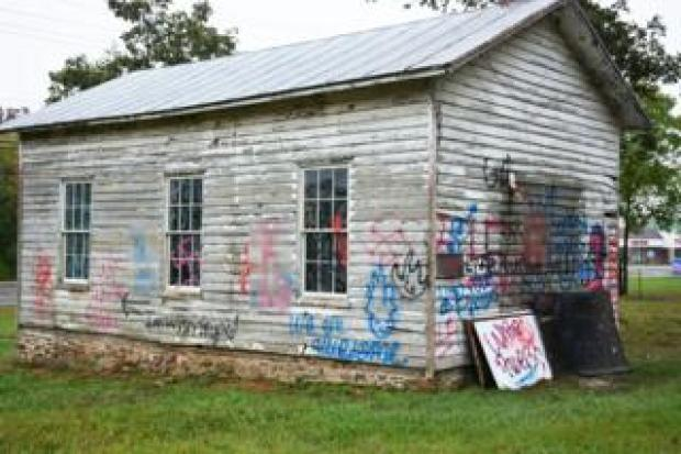 The Ashburn Colored School defaced with graffiti