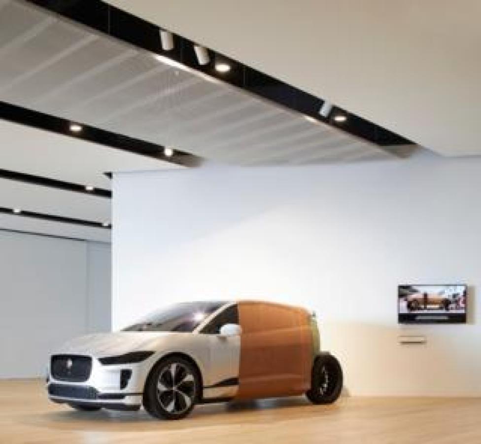 A clay model of Jaguar's I-PACE electric car, showing the design process. Jaguar's Director of Design, Ian Callum, is Scottish.