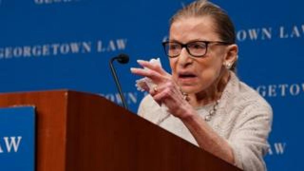 trump US Supreme Court Justice Ruth Bader Ginsburg delivers remarks during a discussion hosted by the Georgetown University Law Center in Washington, DC, September 12, 2019