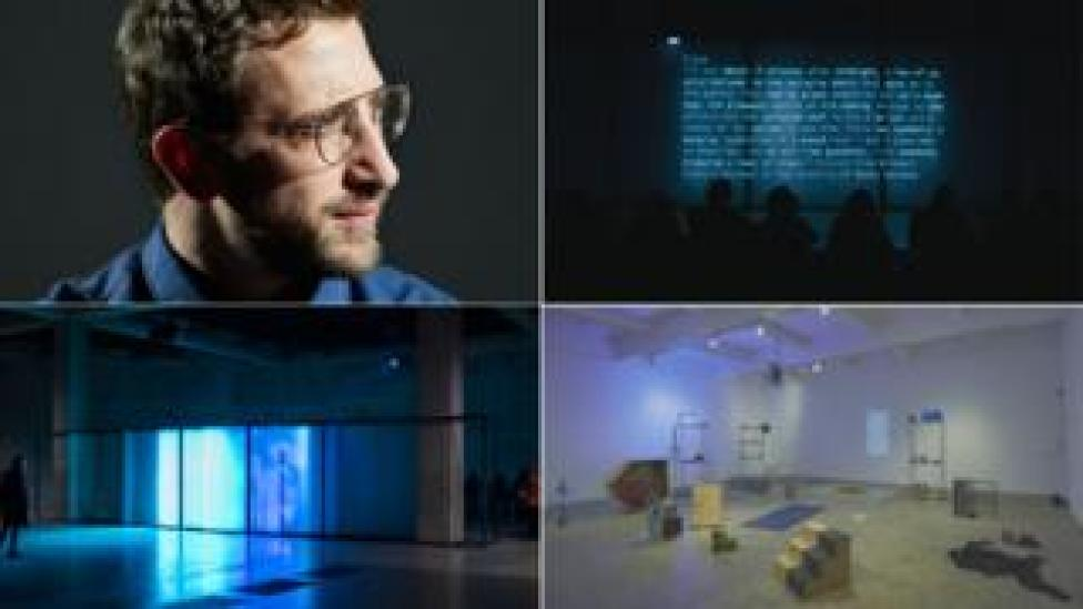 Clockwise from top left: Lawrence Abu Hamdan (Miro Kuzmanovic), After SFX 2018 in The Tank at Tate Modern, Earwitness Inventory 2018 at Chisenhale, Walled Unwalled 2018 in the Tank at Tate Modern