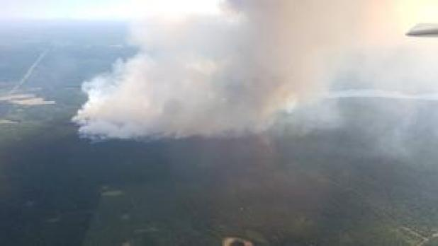 British Columbia wildfires seen near 100 Mile House in British Columbia, Canada